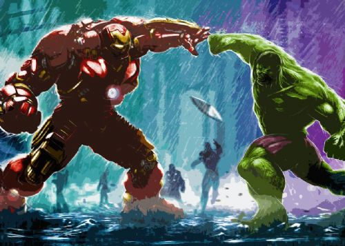 THE AVENGERS - HULK V IRON MAN CUT OUT STYLE ART canvas print - self adhesive poster - photo print